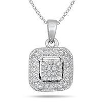 Antique Styled Diamond Pendant in Solid .925 Sterling Silver