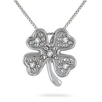 4 Leaf Diamond Clover Pendant in .925 Sterling Silver