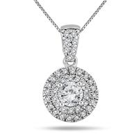 3/4 Carat TW Double Halo Diamond Pendant in 10K White Gold