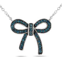 1/4 Carat Blue Diamond Ribbon Pendant in .925 Sterling Silver