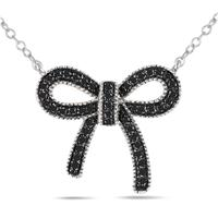 1/4 Carat Black Diamond Ribbon Pendant in .925 Sterling Silver