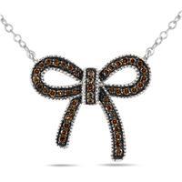 1/4 Carat Champagne Diamond Ribbon Pendant in .925 Sterling Silver