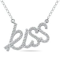 1/3 Carat Diamond KISS Pendant in .925 Sterling Silver