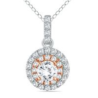3/4 Carat Diamond Double Halo Pendant in Two Tone 14K Gold