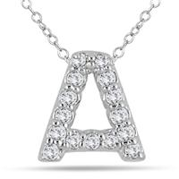 1/10 Carat A Initial Diamond Pendant in 10K White Gold
