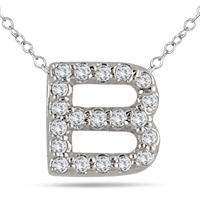 1/6 Carat B Initial Diamond Pendant in 10K White Gold