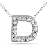 1/10 Carat D Initial Diamond Pendant in 10K White Gold