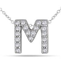 1/6 Carat M Initial Diamond Pendant in 10K White Gold