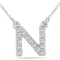 1/10 Carat N Initial Diamond Pendant in 10K White Gold
