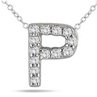 1/10 Carat P Initial Diamond Pendant in 10K White Gold