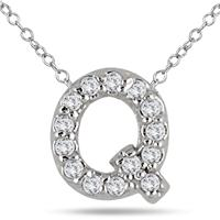 1/10 Carat TW Q Initial Diamond Pendant in 10K White Gold