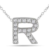 1/6 Carat R Initial Diamond Pendant in 10K White Gold