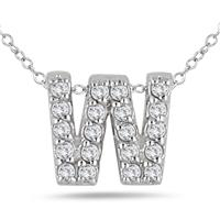 1/6 Carat TW W Initial Diamond Pendant in 10K White Gold
