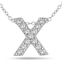 1/10 Carat X Initial Diamond Pendant in 10K White Gold