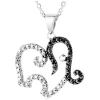 Black and White Diamond Elephant Pendant in Rhodium Plated Brass