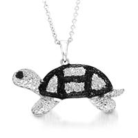 Black Diamond Turtle Pendant in Rhodium Plated Brass