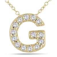 1/10 Carat G Initial Diamond Pendant in 10K Yellow Gold