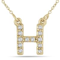 1/10 Carat H Initial Diamond Pendant in 10K Yellow Gold