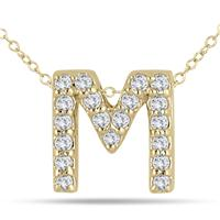 1/6 Carat M Initial Diamond Pendant in 10K Yellow Gold