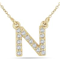 1/10 Carat N Initial Diamond Pendant in 10K Yellow Gold
