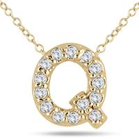 1/10 Carat Q Initial Diamond Pendant in 10K Yellow Gold