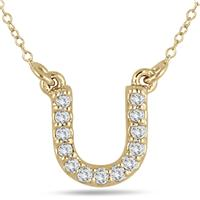 1/10 Carat U Initial Diamond Pendant in 10K Yellow Gold