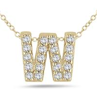 1/6 Carat W Initial Diamond Pendant in 10K Yellow Gold