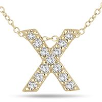 1/10 Carat X Initial Diamond Pendant in 10K Yellow Gold