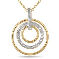 Diamond Circle Pendant in 18K Gold Plated Sterling Silver