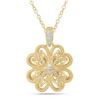 Diamond Filigree Engraved Pendant in 18K Gold Plated Sterling Silver