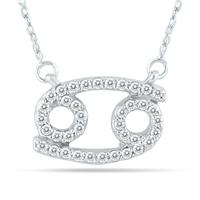 1/3 Carat TW Diamond Cancer Zodiac Pendant 10K White Gold