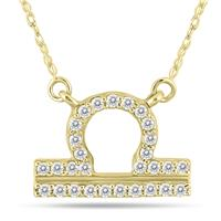 1/5 Carat TW Diamond Libra Zodiac Pendant 10K Yellow Gold