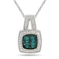 Genuine Blue Diamond Halo Pendant in .925 Sterling Silver