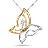 Two Toned Diamond Butterfly Pendant in .925 Sterlign Silver