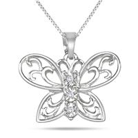 Engraved Diamond Butterfly Pendant in .925 Sterling Silver