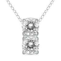 1/2 Carat Two Stone Diamond Pendant in 14K White Gold