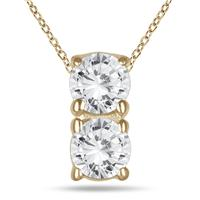 1/2 Carat Two Stone Diamond Pendant in 14K Yellow Gold
