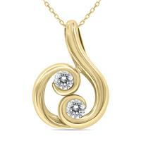 3/4 Carat Two Stone Diamond Pendant in 14K Yellow Gold