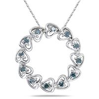 Blue Diamond Circle Heart Pendant in 10K White Gold