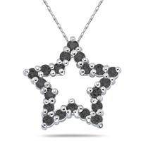 1/2CTW Black Diamond Star Pendant in White Gold