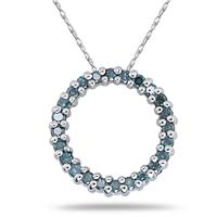 1/4CTW Blue Diamond Circle Pendant in White Gold