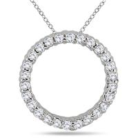 1/3 Carat Diamond Circle Pendant in 14K White Gold