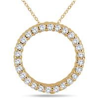 1/3 Carat TW Diamond Circle Pendant in 14K Yellow Gold