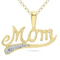 Diamond MOM Pendant in 10K Yellow God