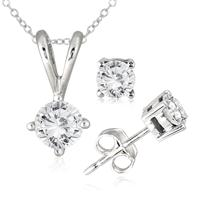 1.00 Carat TW Diamond Solitaire Pendant and Earring Matching Set in 10K White Gold
