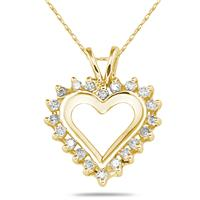 1/4 Carat Diamond Heart Pendant in 10k Yellow Gold
