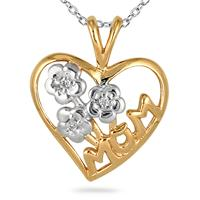 Diamond Flower Basket and Heart MOM Pendant 14K Yellow Gold