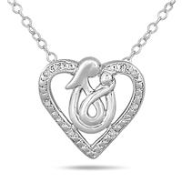 Mother and Baby Diamond Heart Pendant in .925 Sterling Silver