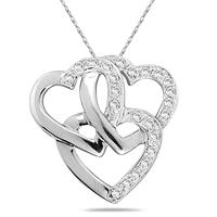 Triple Heart Diamond Pendant in 10kt White Gold