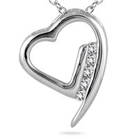 Diamond Heart Pendant in 14kt White Gold